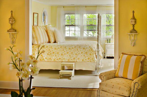 Модные обои для спальни фото 2015 желтые