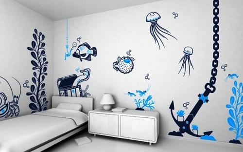 Чтобы дизайн интерьера выглядел более полноценным, на стенах желательно использовать узоры