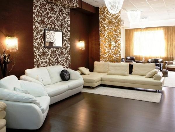 обои коричневого цвета для стен гостиной