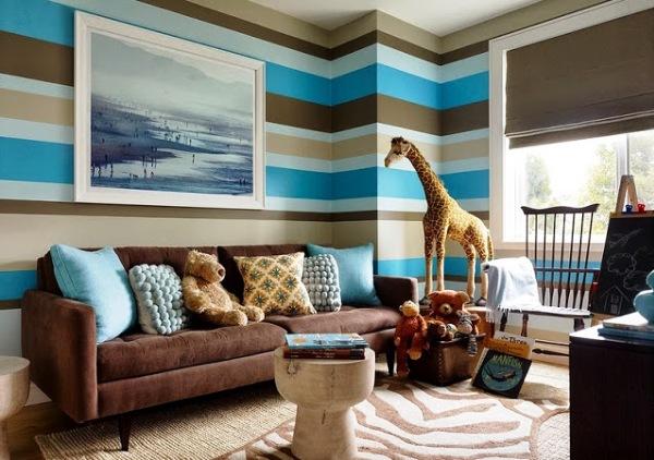"""Фото: горизонтальные полосы на стенах способны """"расширить"""" полезную площадь"""