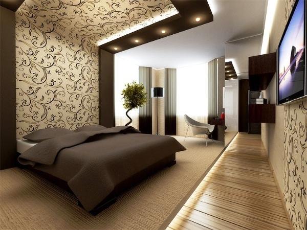 Такие естественные цвета, как коричневый, идеально подходят для дизайна спальни