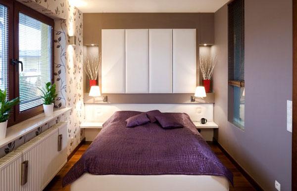 модные обои для небольшой спальни хрущевке 2015 синие