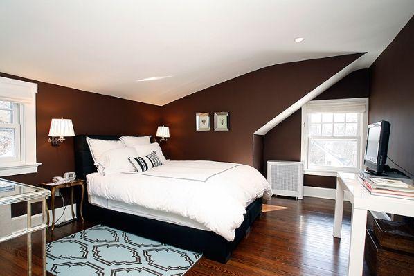 модные обои для спальни 2015 коричневые белые сочетание