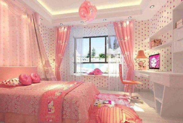 модные обои для спальни 2015 розовые в цветочек
