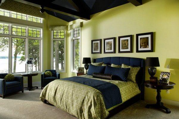 модные обои для спальни 2015 салатовые светло зеленые коричневые шторы