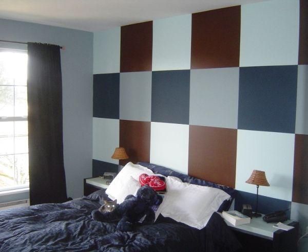 модные обои для спальни 2015 синие белые коричневые комбинация сочетание