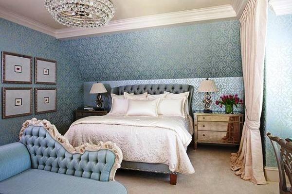 модные обои для спальни 2015 светло голубые