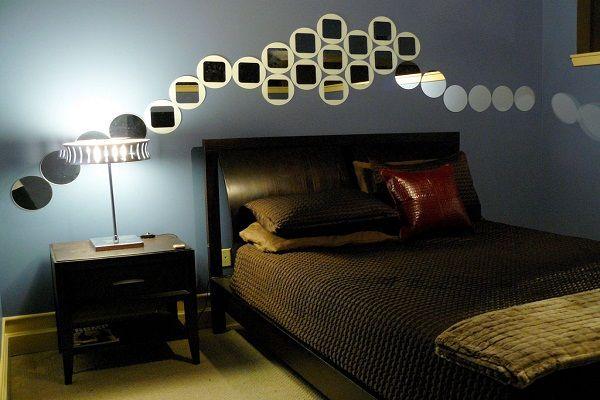 модные обои для спальни 2015 темно синие сиреневые