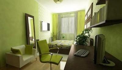 обои для узкой комнаты зеленые