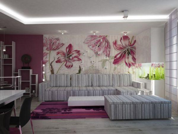 современные цвета интерьере гостиной