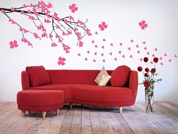 рисунок сакуры на стене