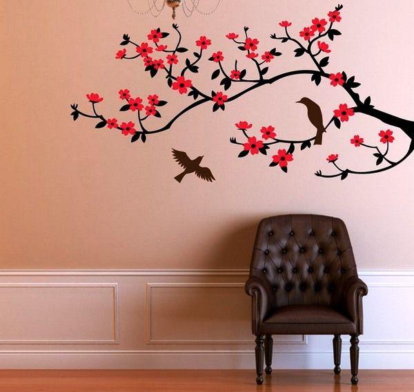 сакура на стене цветы как нарисовать