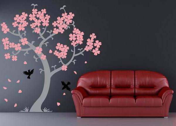 сакура на стене цветы как сделать