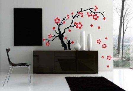 сакура на стене цветы наклейка