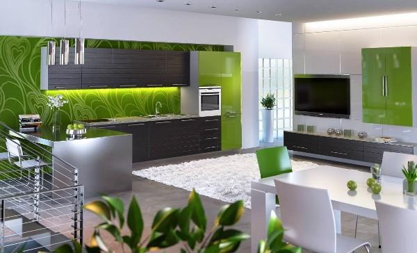 зеленые обои для кухни фото