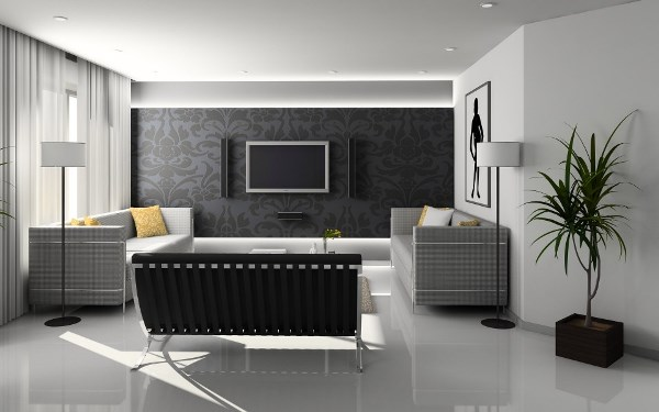 Стильное черно-белое оформление гостиной