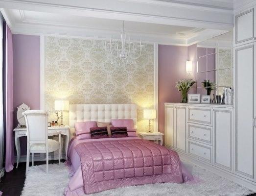 Лиловая спальня смотрится особенно нежно