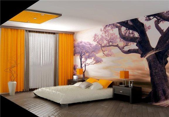Акценты лилового цвета привносят в комнату спокойствие