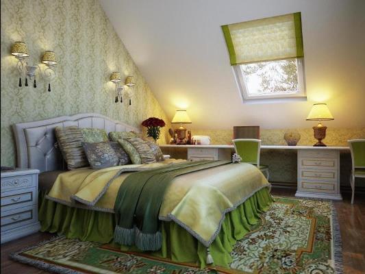 Спальня в желто-зеленом сочетании
