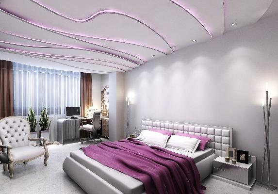 Фиолетовое монохромное наполнение спальни