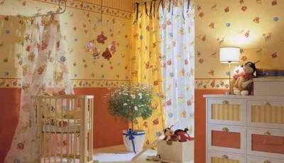 Комбинированные обои в детской желтые и оранжевые
