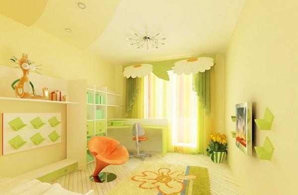 Дизайн комнаты в зелено желтых тонах