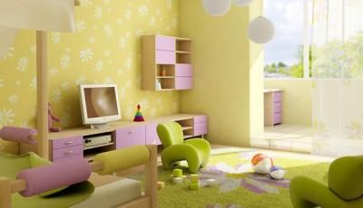Салатовые детские обои в сочетании с мебелью