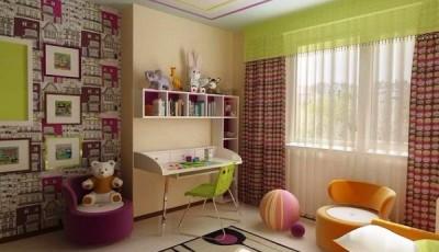 Сочетание обоев в детской комнате