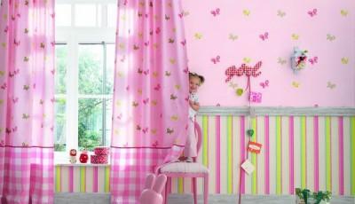 Сочетание обоев в детской комнате по вертикали