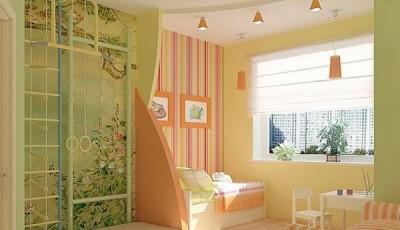 Сочетание обоев в детской комнате салатовые бежевые