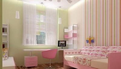 Сочетание обоев в детской комнате салатовые и полоска