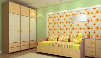 Сочетание обоев в детской комнате салатовые и цветы