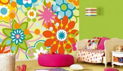Сочетание обоев в детской комнате зеленые и цветы