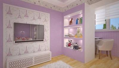 Сочетание обоев в детской комнате зональное