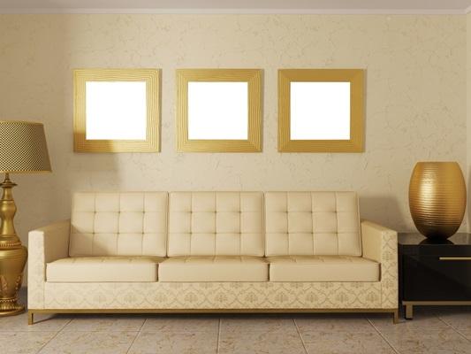 Желтый оттенок кремового в гостиной