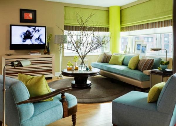 Фото: зеленый и бежевый - оптимально сочетание в интерьере
