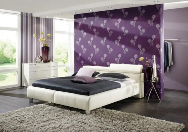 Дизайн поклейки обоев двух видов в спальне фото