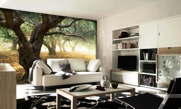 Чтобы сделать зал оригинальным, Вы можете на одной из стен наклеить фотообои