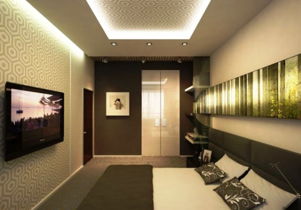 В маленьких спальнях с недостаточным количеством света не следует использовать обои темных цветов