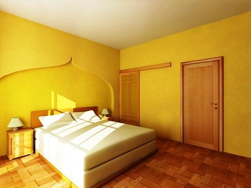 При определенных условиях, использование обоев этого цвета допускается и в спальне