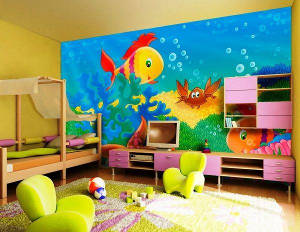 модные обои для детской комнаты 2015 море рыбки