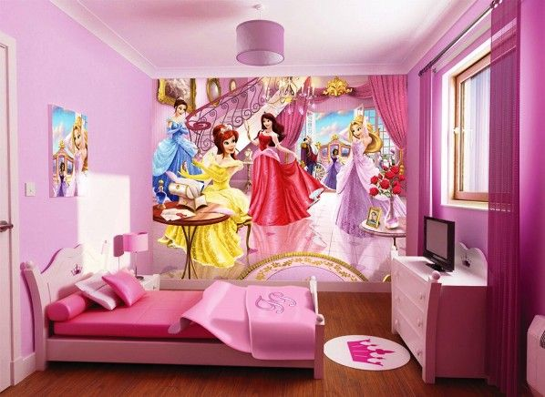 модные обои для детской комнаты 2015 розовые принцессы для девочки