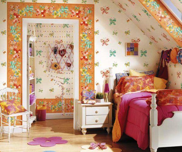 модные обои для детской комнаты 2015 с бабочками