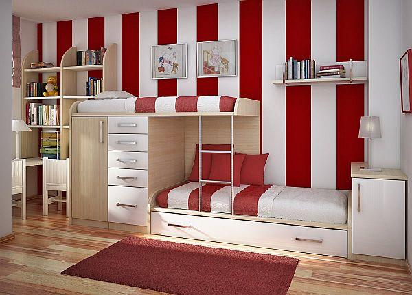 модные обои для детской комнаты 2015 сочетание красные белые полоска