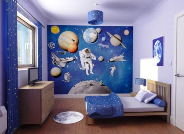 модные обои для детской комнаты 2015 сочетание синие белые
