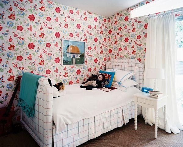 модные обои для детской комнаты 2015 светлые в цветочек