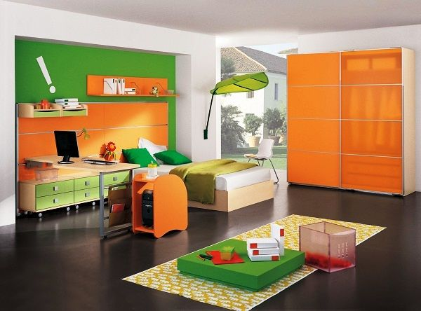модные обои для детской комнаты 2015 сзеленые оранжевые