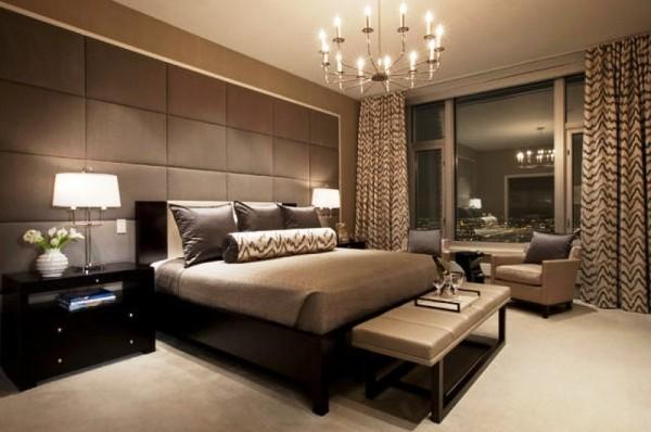 Фото: использование мебели и штор коричневого цвета могут сделать Вашу спальню излишне мрачной. Лучше сделать выбор в пользу светлых тонов