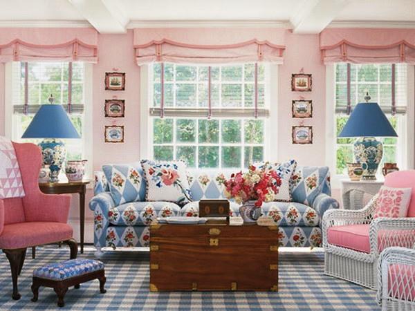 Бледноватые, нежно-розовые тона прекрасно подойдут для оформления гостиной
