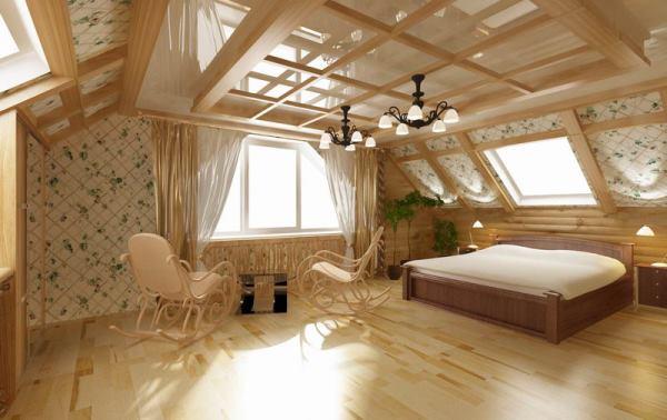 Русский стиль в мансардной спальне